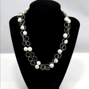 Jewelry - 925 STERLING SILVER & PEARL Chain Necklace
